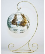 TEMPORARILY OUT OF STOCK <BR><BR>  Mouth Blown Glass Ornament 'Rabbits'