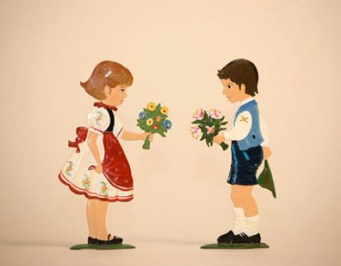 Boy Giving Girl Flowers Standing Pewter Wilhelm Schweizer