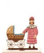 Tochter mit Puppenwagen Standing Pewter BABETTE SCHWEIZER
