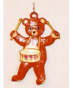 Bear Playing Snare Drum Hanging Ornament Wilhelm Schweizer