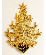 TEMPORARILY OUT OF STOCK - Tree w. Herz in Gold Christmas Pewter Wilhelm Schweizer