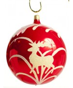 Mouth Blown Glass Ornament 'Red Ball with Deer'