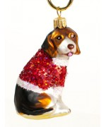 TEMPORARILY OUT OF STOCK <BR><BR> Mouth Blown Glass Ornament 'Hound with Red Sweater'
