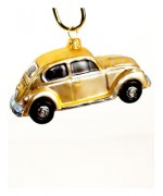 TEMPORARILY OUT OF STOCK <BR><BR> Mouth Blown Glass Ornament 'Gold Car'