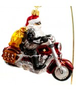 TEMPORARILY OUT OF STOCK <BR><BR> Mouth Blown Glass Ornament 'Santa on a Motorcycle'