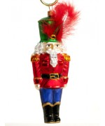 Mouth Blown Glass Ornament 'Nutcracker with Green Hat'