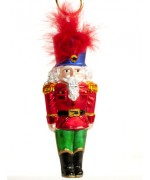 Mouth Blown Glass Ornament 'Nutcracker with Blue Hat'