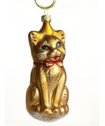 Mouth Blown Glass Ornament 'Brown Cat'