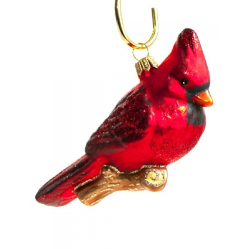 TEMPORARILY OUT OF STOCK - Mouth Blown Glass Ornament Cardinal