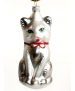 Mouth Blown Glass Ornament 'White Cat'