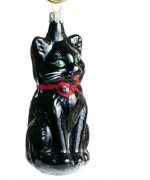 TEMPORARILY OUT OF STOCK - Mouth Blown Glass Ornament Black Cat
