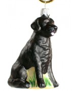 TEMPORARILY OUT OF STOCK <BR><BR> Mouth Blown Glass Ornament 'Black Labrador'