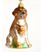 TEMPORARILY OUT OF STOCK <BR><BR> Mouth Blown Glass Ornament 'Yellow Labrador'
