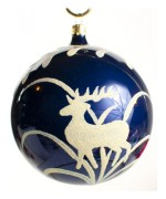 Mouth Blown Glass Ornament 'Blue Ball with Deer'