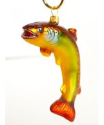 TEMPORARILY OUT OF STOCK <BR><BR>  Mouth Blown Glass Ornament 'Trout'