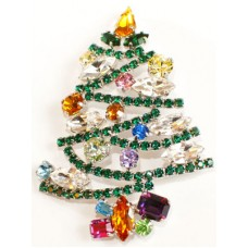 TEMPORARILY OUT OF STOCK - Swarovski Crystals Christmas Tree BROOCH