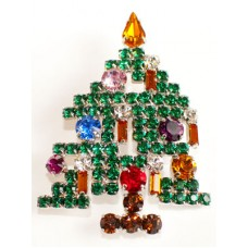 TEMPORARILY OUT OF STOCK - Swarovksi Crystals Christmas Tree BROOCH