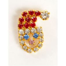 Miniature Santa  Swarovski Pin