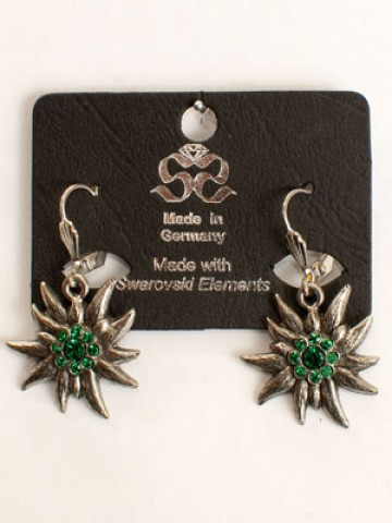 TEMPORARILY OUT OF STOCK - Oktoberfest Jewelry Green Crystal Edelweiss Earrings