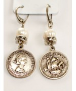 "Beautiful German ""Half Penny"" Earrings"