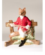 Key Holder Fox in Hunt Costume Ceramic Wall Art - FD