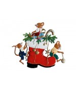 TEMPORARILY OUT OF STOCK - Mice playing on a Nicolausboot' Hanging Ornament Wilhelm Schweizer