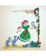 TEMPORARILY OUT OF STOCK - Zinnfiguren-Pewter Ornament Struwwelpeter Pauline mit Katzen BABETTE SCHWEIZER