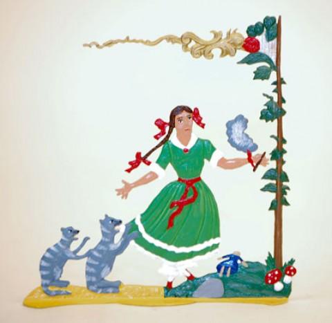 TEMPORARILY OUT OF STOCK - Zinnfiguren-Pewter Ornament Struwwelpeter Pauline mit Katzen BABETTE SCHWEIZER
