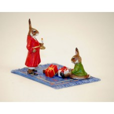 TEMPORARILY OUT OF STOCK - Easter Bunnies Vienna Bronze Rabbit on Carpet with Gifts