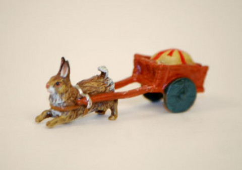 TEMPORARILY OUT OF STOCK - Easter Bunnies Vienna Bronze Rabbit Pulling Carriage
