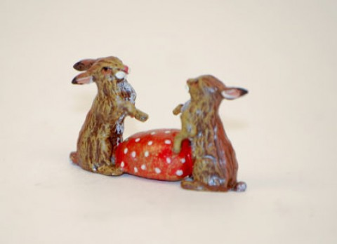 TEMPORARILY OUT OF STOCK - Easter Bunnies Vienna Bronze Two Rabbits and an Egg Miniature