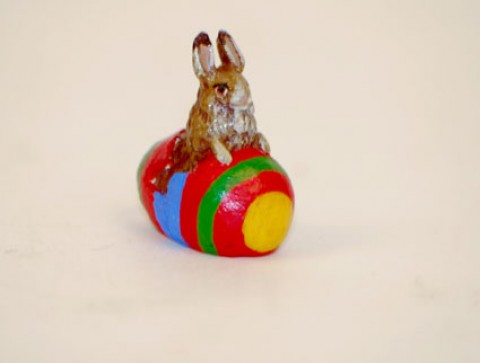 TEMPORARILY OUT OF STOCK - Easter Bunnies Vienna Bronze Rabbit Sitting in Egg Miniature