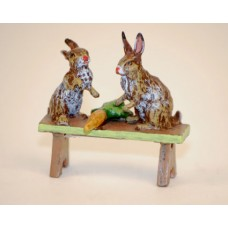TEMPORARILY OUT OF STOCK - Easter Bunnies Vienna Bronze Two Rabbits on a Bench Miniature