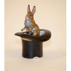Easter Bunnies Vienna Bronze Rabbit Sitting in a Top Hat Miniature Figure