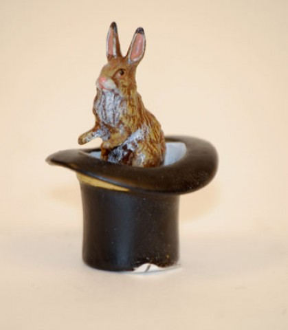 Easter Bunnies Vienna Bronze Rabbit Sitting in a Top Hat Miniature Figure