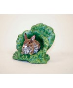 TEMPORARILY OUT OF STOCK - Easter Bunnies Vienna Bronze Rabbit in Cabbage Miniature