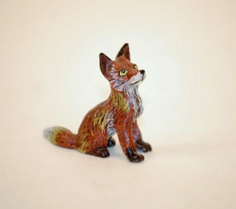 Vienna Bronze Little Fox Sitting Miniature Figure