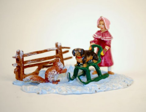 TEMPORARILY OUT OF STOCK - Vienna Bronze Girl with sled, dog & squirrel