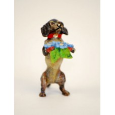 TEMPORARILY OUT OF STOCK <BR><BR>  Vienna Bronze 'Dachshund with Flowers'