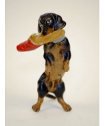 Vienna Bronze Dachshund Eating a Shoe Miniature Figure