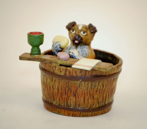 TEMPORARILY OUT OF  STOCK - Vienna Bronze 'Dog Bath'