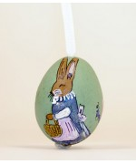 TEMPORARILY OUT OF STOCK  MOTHER Peter Priess of Salzburg Hand Painted Easter Egg Female Bunny with Basket