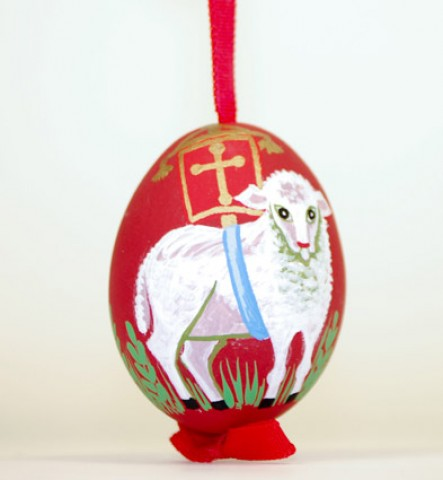 TEMPORARILY OUT OF STOCK - Peter Priess of Salzburg Hand Painted Easter Egg Easter Lamb