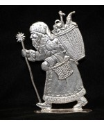 Wilhelm Schweizer Unpainted Pewter Anno 1985 Santa with Staff