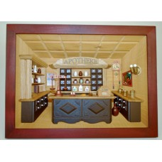 German wooden 3D-picture box-Diorama Pharmacy Painted