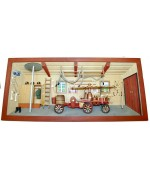 Large German wooden 3D-picture box-Diorama Firehouse - Feuerwehr Painted