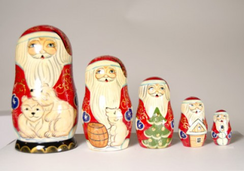 TEMPORARILY OUT OF STOCK <BR><BR> 'Polar Bear Santa' Nesting Doll G. DeBrekht