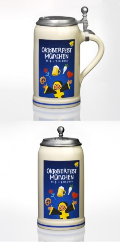 TEMPORARILY OUT OF STOCK <BR><BR>  The Official Munich Oktoberfest 2012 Beerstein with Tin lid -1,0