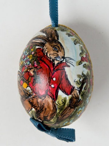 Peter Priess of Salzburg Hand Painted Easter Egg Bunny Collecting Eggs