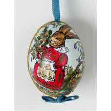 Peter Priess of Salzburg Hand Painted Easter Egg Bunny with Flowers